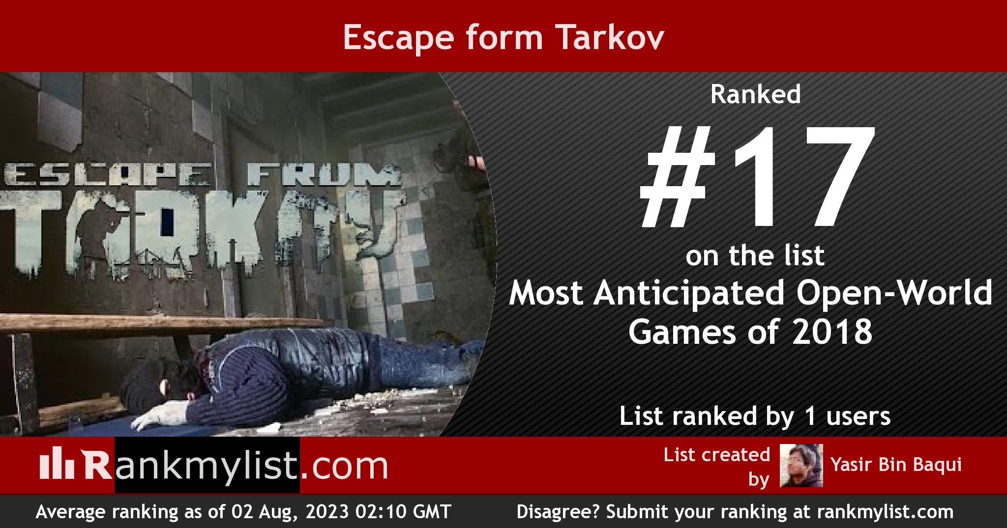Most Anticipated Open-World Games of 2018 - Escape form Tarkov